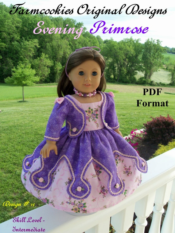 "PDF Pattern for American Girl Doll / Historical Evening Primrose Gown/  Sewing Pattern for 18"" Dolls"