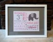 Nursery Print, Personalized Elephant Nursery Art, On The Day You Were Born Birth Announcement Print, Preppy, Custom Framed Nursery Art