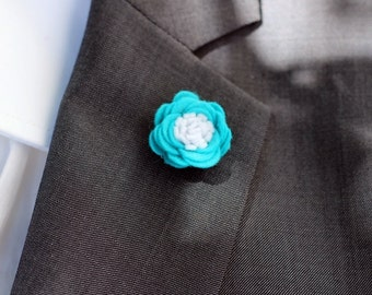Forget-me-not turquoise lapel pin, Mens lapel flower Boutonniere, Wool Felt Lapel Flower pin, rose boutonniere, flower lapel pin, mens gift,