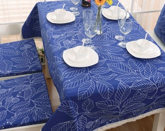 Blue Tree Flower Leaves Rectangle Square Round Tablecloth Dinner,Party,Wedding,Baby Shower-Cotton Custom Runner,Pillow case,GET FREE GIFT