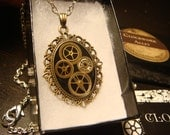 Victorian Style Clockwork GearsSteampunk Necklace Made with Upcycled Watch Part Gears (1673)