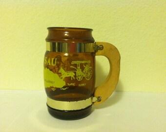 Vintage, Nassau, Amber Glass, Souvenir Mug, Siesta-like, barrel shaped, Root Beer mug