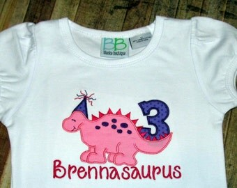 Girl Dinosaur Birthday Shirt