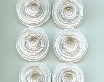 Handmade Large White Spiral Paper Flowers
