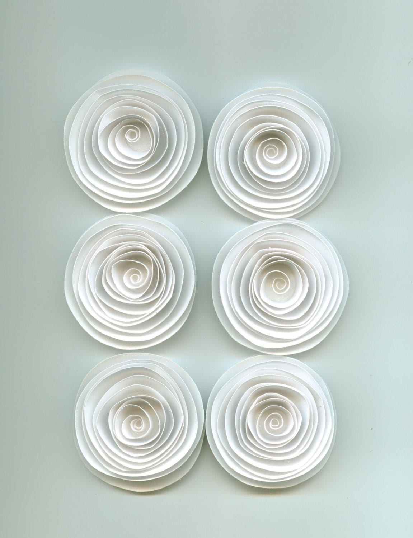 Handmade Large White Spiral Paper Flowers E10261624442597969m