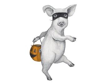 "5x7"" Giclee print of Halloween Pig"