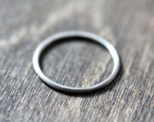 Women's Slim White Gold Wedding Band, Skinny Round Recycled 14k Palladium White Gold Ring Brushed Gold Ring - Made in Your Size