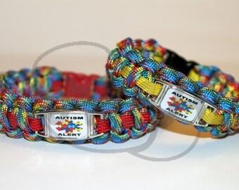 Autism Alert Puzzle Medical ID ALLOY Charm on 550 Paracord Survival Strap Bracelet with Plastic Contoured Side Release Buckle