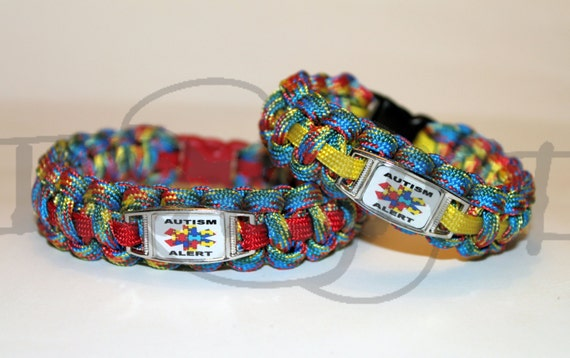 Autism Alert Puzzle Medical Id Alloy Charm On 550 Paracord