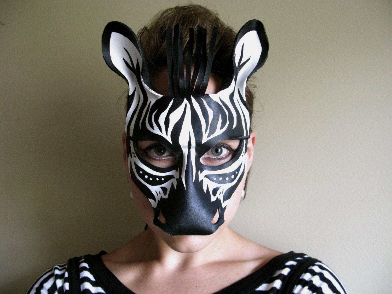 Zebra Leather Mask Child or Adult Sizes Available
