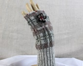Fingerless Gloves Felted Vintage Wool Up-cycled Plaid Green Brown Beige Gray One Of A Kind