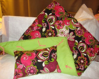 Pretty pink, green and black floral bedding set for 18 inch Dolls - agqs12