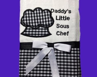 Baby burp cloth - Embroidery and appliqued sous chef