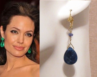 Lapis Blue Earrings: Gold Faceted Teardrop Royal Blue Earrings, Bridesmaids Gift, Angelina Jolie Earrings, Royal Blue Wedding Jewelry