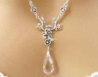 Crystal Bridal Necklace, Quinceanera Swarovski Rhinestone Wedding Necklace, Swarovski Wedding Jewelry Bridesmaid Necklace Prom Jewelry