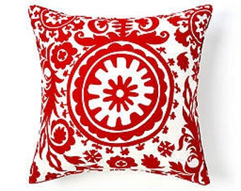 """Pillow Cover Cushion  red  ikat, suzani  20x20"""" or seelect your size"""