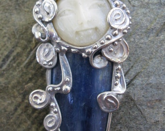 Pin or Pendant-Carved bone face over Kyanite
