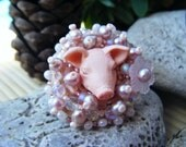 RESERVED FOR JEANNE Pink Piggy embroidered ring