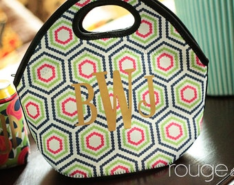 lunch cooler - METALLIC COLLECTION insulated zipper tote with gold or silver foil monogram