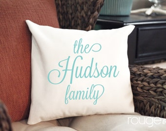 custom text throw pillow cover - NEW COLORS and styles - customize text and ink color