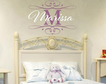 22 X 36 Personalized Baby Nursery Name Initial Art Vinyl Wall Decal  Frame Wall Decal Baby Room Girl Bedroom Wall Art itswritteninvinyl