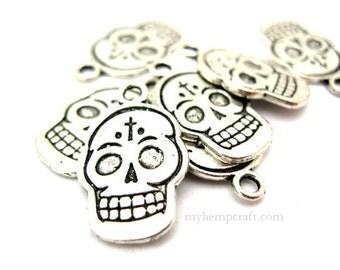 6pc Skull Charms, Silver Metal Halloween Beads,13x20 Skull Charms