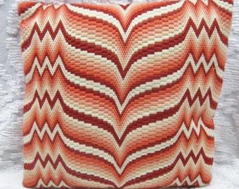 70s Red Chevron Throw Pillow