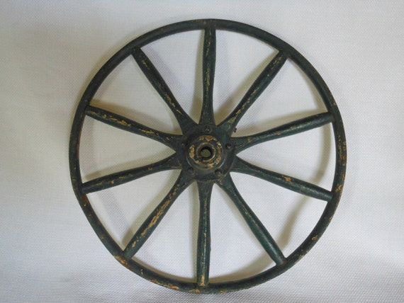 Antique Steel Spoke Wheels : Antique metal wheel rim with wood spokes by cool toss on etsy