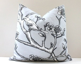 """Modern dove grey Decorative Designer Pillow Cover 18"""" Accent floral chinoiserie smoke white black bird cottage neutral silver floral dwell"""