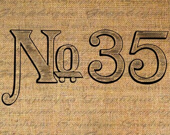 Iron On Transfer Fabric Transfer Burlap Digital Graphic Art Vintage Number Numerals Instant Download Digital Image Download Pillows No. 4756