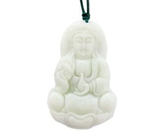 Natural Stone Tibet Kwan-Yin Goddess Of Mercy Amulet Pendant 47mm x 28mm  TH293