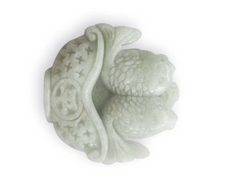 Great Natural Jadeite Jade Engraved Pisces Peace PING-AN Coin 2Faces Amulet Charm Pendant 47mm x 46mm  T3007