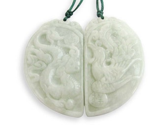 Pair Of Jadeite Jade Chinese Dragon Phoenix Love Heart Sweetheart Fashion Charm Pendant 44mm x 26mm  T3008