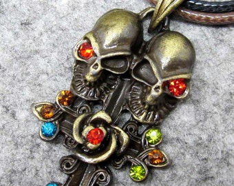 Multi-Color Acrylic Diamond Inlaid Metal Twin Skull Heads Flower Pendant 38mm x 24mm  T2401