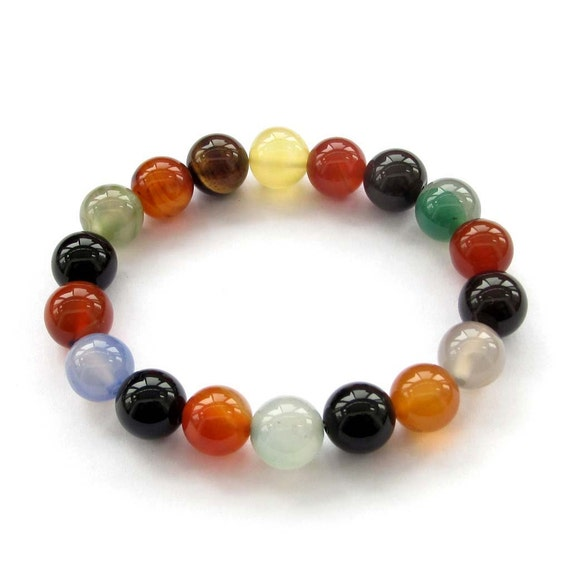 10mm Female Jewelry Multi-Color Agate Gemstone Prayer Beads Charm Beaded Bracelet  2519