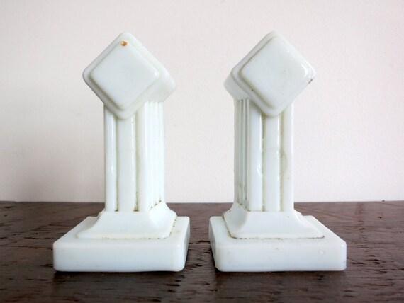 Pair of Milk Glass Deco Towel Bar Brackets