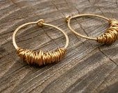 Small Gold Hoops Sleeper Earring Gold Huggie Hoops Hammered Wire Jewelry Gold Circle Earring Hoops with Texture Tribal Jewelry