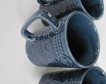 Blue Japan Mugs, Blue Coffee Mugs,  Dark Blue Mugs,  Art Deco  Mugs, Vintage Coffee Mugs, Embossed Mugs, Vintage Blue Mugs, Coffee Mugs