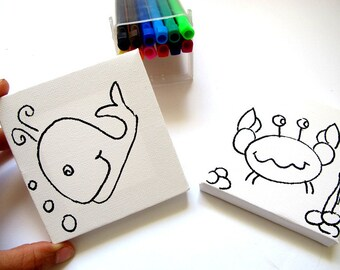 DIY kids mini canvas coloring kit- whale and crab, children canvas kit project, kids DIY craft activity, children decor