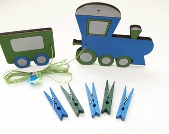 Children's  Artwork display hanger- Train - Blue and green wall art for boys - kids christmas gift, transportation wall art