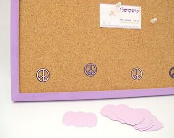 Cork board- Purple peace sign decorative cork board, purple message board, Bulletin Board for girls room