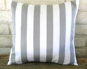 The Olivia -  Premier Prints Gray and White Canopy Stripes Pillow Cover