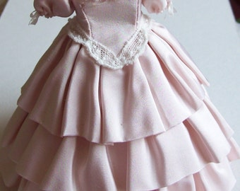 Pink silk ball gown on mannequin 1/12th scale dollhouse miniature handmade