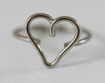 Vintage Silver Heart Ring Wire Ring Wire Wrapped Ring Adjustable Ring Size 6.5