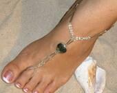 Glass Heart Barefoot Sandals Happi Feet Handmade Pair Nude Beach Wedding Shoes The Elizabeth HF36