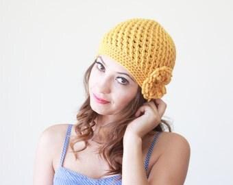 Mustard Beanie for women, Mustard hat with flower, Women crochet beanie with flower, Chunky crochet hat, Yellow crochet hat, Yellow beanie