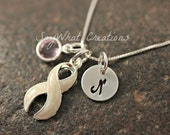 Awareness Ribbon Necklace IVORY Pearl Color for SMA Awareness with hand stamped sterling silver initial and birthstone necklace