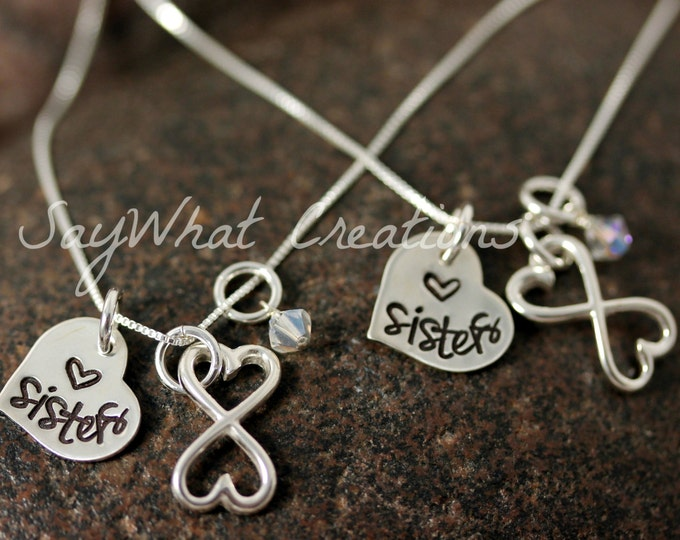 Custom Hand Stamped Sterling Silver Sisters Infinity Necklaces SET OF TWO