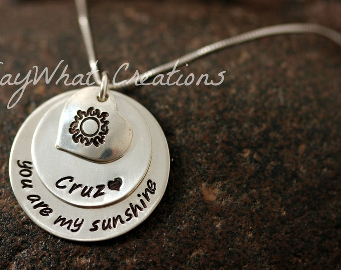 "Sterling Silver ""You are my sunshine"" hand stamped necklace with personalized name and heart with sun Mothers Necklace"