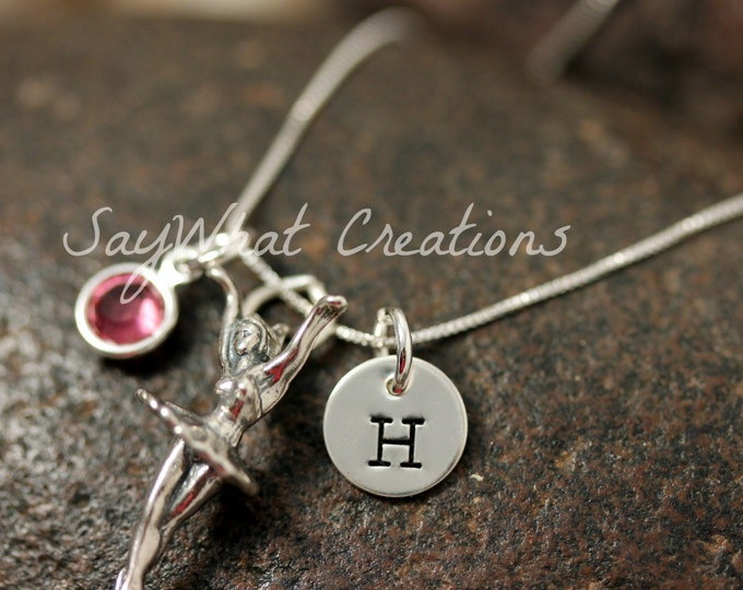 Hand Stamped Sterling Silver Ballerina Dance Ballet Charm Necklace with initial and birthstone